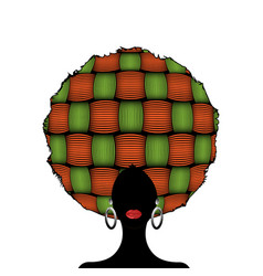 portrait african woman silhouette afro curly hair vector image