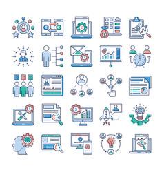 project management teamwork flat pack vector image