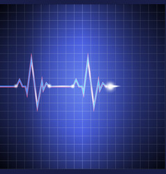 pulse cardiogram on the monitor in the cell vector image