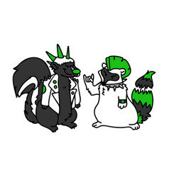 Punk rock skunk and raccoon with mohawk vector