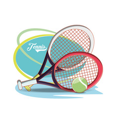 Rackets and ball to play tennis sport vector