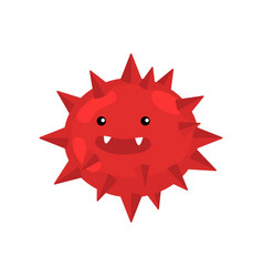 Red spiky round bacterium or virus closeup vector