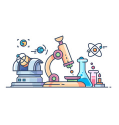 Science and research line flat vector