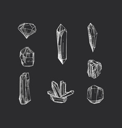 Set hand drawn crystals vector