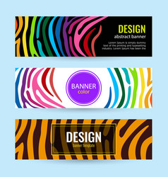 set horizontal color banners with stripes vector image