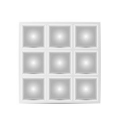 showcase with squares cells for goods mockup vector image