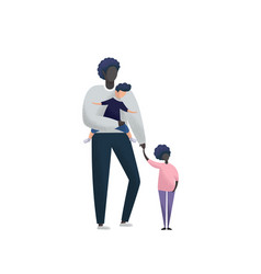 Single father with daughter and adopted son on vector