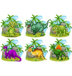 Six dinosaurs in the forest vector image