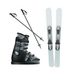 Skis boots and sticks vector
