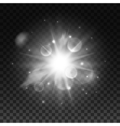 Sparkling bright star light with lens flare effect vector