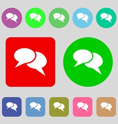 Speech bubble icons Think cloud symbols 12 colored vector image
