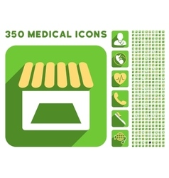 Store Facade Icon and Medical Longshadow Icon Set vector image