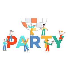stylized male female characters at party vector image