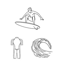 surfing and extreme outline icons in set vector image
