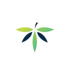 T letter cannabis leaf hemp logo icon vector