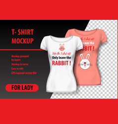 t-shirt mockup with rabbit and funny phrase in vector image