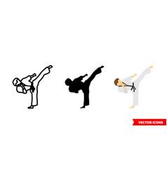 Taekwondo kick icon 3 types isolated vector