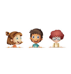 three kids with happy face vector image