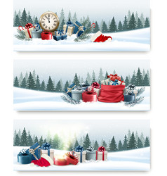 Three nature landscape Christmas banners with gift vector