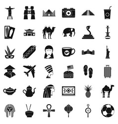 Tourism icons set simple style vector