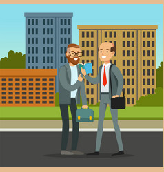 Two male friends or colleagues meeting on city vector