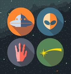 Unidentified flying objects icons set vector