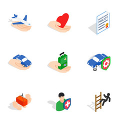 Universal insurance icons isometric 3d style vector
