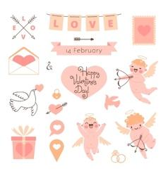 valentines day set elements for design vector image