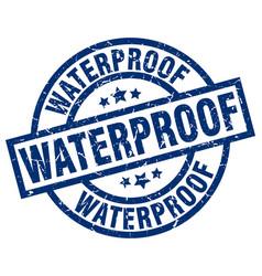 Waterproof blue round grunge stamp vector