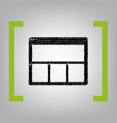 web window sign black scribble icon in vector image