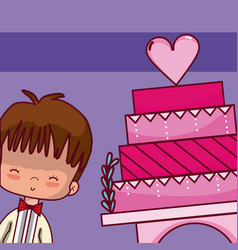 Wedding boyfriend with cake vector