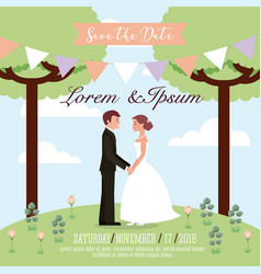 Wedding couple in the park save the date card vector
