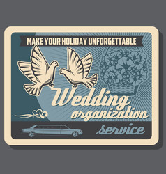 Wedding organization limousine and flower service vector