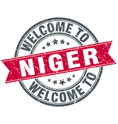 Welcome to niger red round vintage stamp vector