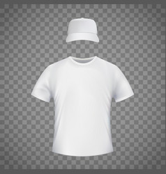 White blank template t-shirt and a baseball cap vector