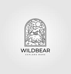 wild bear vintage outdoor logo line art symbol vector image