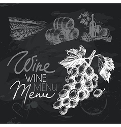 Wine hand drawn chalkboard design set vector image