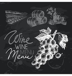 Wine hand drawn chalkboard design set vector