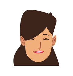 young woman laughing face pretty with closed eyes vector image