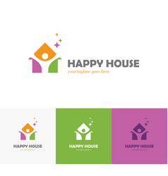 Colorful house logo with abstract man silhouette vector