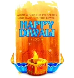 Happy Diwali background with coloful watercolor vector image vector image