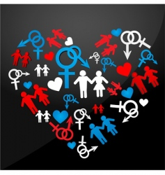 male female icons forming heart vector image vector image