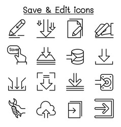 save edit data icon set in thin line style vector image vector image
