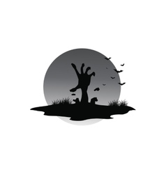 Scary halloween hand zombie of silhouette vector image
