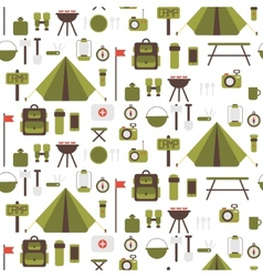 Seamless pattern of flat colorful camping vector image vector image