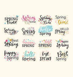 spring time lettering text greeting card special vector image