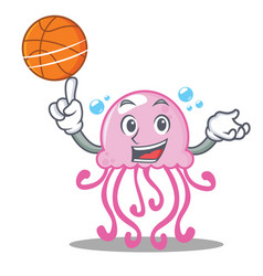 with basketball cute jellyfish character cartoon vector image