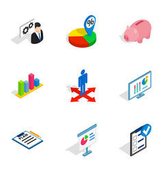 company strategy icons isometric 3d style vector image vector image