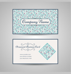 floral style business card template vector image vector image