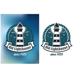 Nautical theme emblem with lighthouse vector image